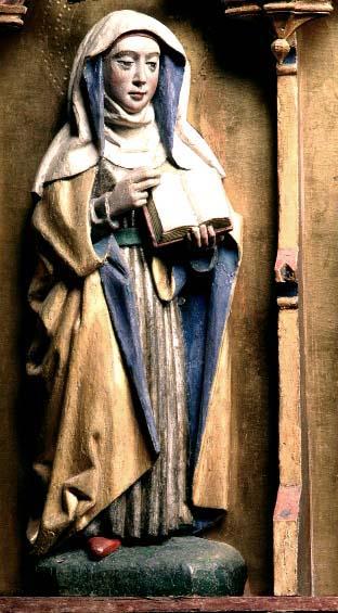 Heliga Birgitta. Från Sollentuna kyrka i Uppland, 1475.
