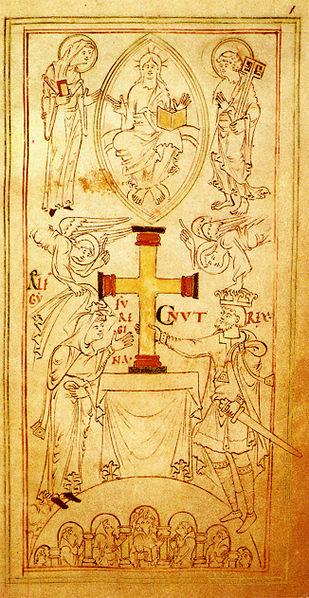 Knut och Ælfgifu (Emma) skänker ett altarkors till klostret New Minster i Winchester 1031, samtida avbildning.